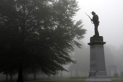 The Capital Guards monument was dedicated in 1911 as part of the Confederate Veterans Reunion.