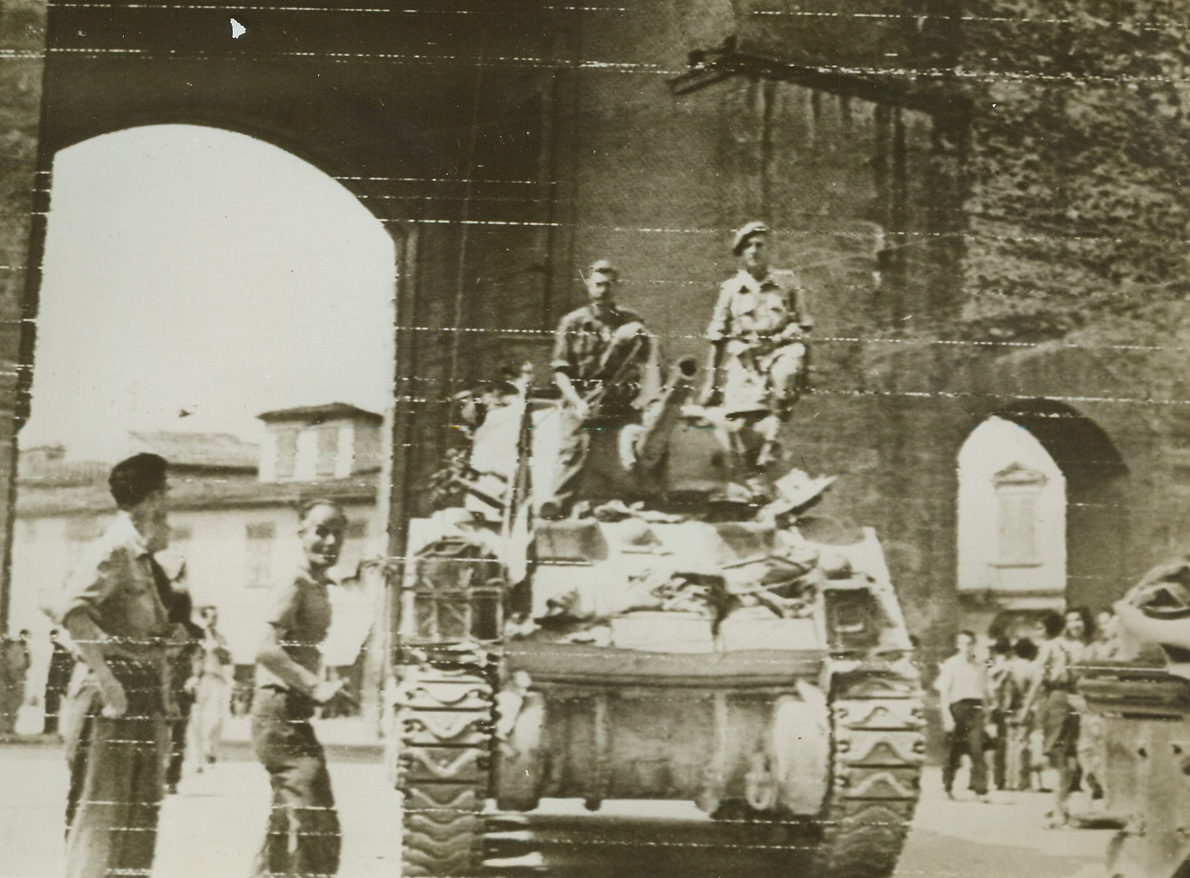 Gateway to Florence, 8/14/1944. FLORENCE, ITALY – Passing through the Porta Romano, a South African tank unit enters the city of Florence, hub of the Germans last defense line in Italy. British 8th Army troops have cleaned out the last Nazi resistance pockets, and AMG officials have taken over. Credit Radiotelephoto from ACME);