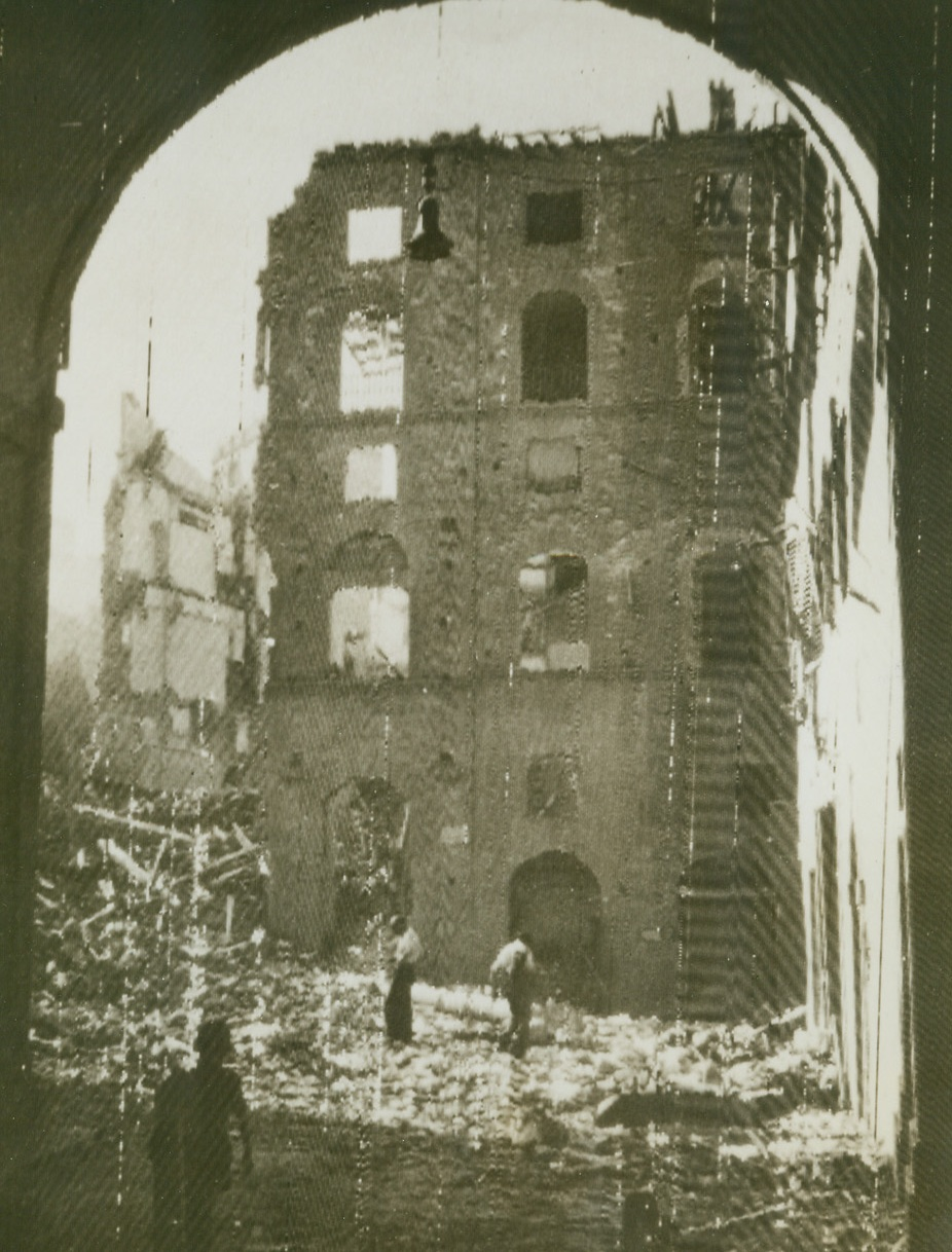 Wrecked Houses in Florence, 8/9/1944. Natives comb through the ruins of buildings in the once-beautiful art center of Florence, after Nazis had abandoned this section of the Italian city. Some of Florence still is in Nazi hands.Credit Line (OWI Radiophoto from Acme);