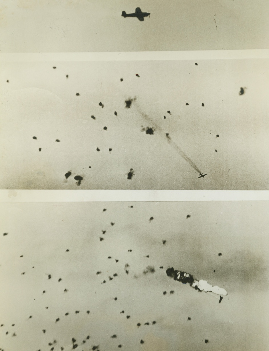 Yank Gunners Down Jap Plane, 8/17/1944. A U.S. Navy photographer, using a camera with a 40-inch lens, filmed the destruction of a Jap plane over Guam, last June 19. At the top, the Nip roars along over an American aircraft carrier. In the center photo, sharp-eyed Yank gunners on the carrier register a hit on the enemy, and (below) the Jap plane explodes in flame. The plane was 7.000 feet above the carrier. Credit: U.S. Navy photo from ACME;