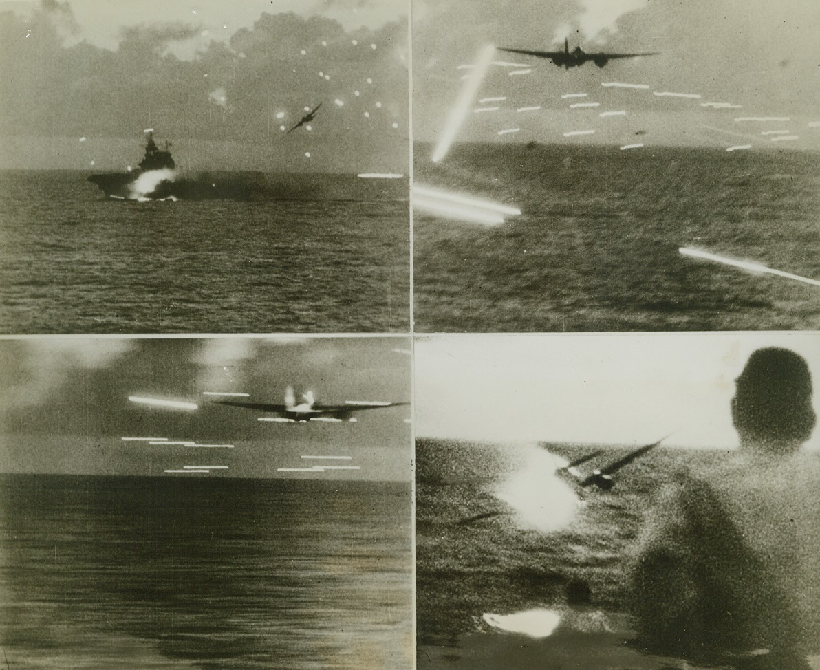 Jap Bomber Comes Down, 8/23/1944. At Sea--- Speeding Westward from Saipan in its hunt for the Jap fleet, task force 58 met and mutilated 18 enemy dive and torpedo bombers in one of the greatest air and sea battles of the Pacific.  The death of one of the attacking warbirds is shown in this series, as it ran the gauntlet of murderous flak and finally plunged into the ocean. Credit line (ACME);