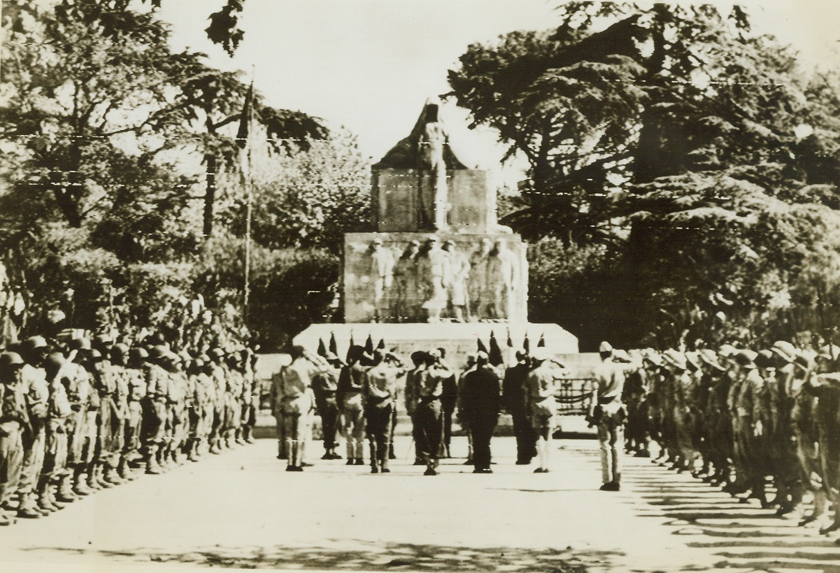 CELEBRATE LIBERATION OF TOULON, 8/31/1944. FRANCE – Highlight of the French military parade commemorating the liberation of Toulon came when General De Latre De Tassigny and his staff paid tribute to the soldiers of World War I at Toulon's memorial monument in Marechal Foch Square. Credit: Army radio telephoto from Acme;