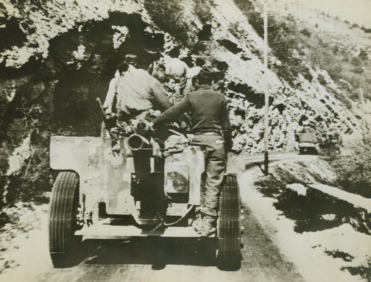 U.S. TANKS CROSS THE ALPS, 8/25/1944. FRANCE—Tank reinforcements push over the French Alps on their way to reinforce an American spearhead which forced a deep wedge into Nazi territory in Southern France. Credit – WP—(ACME Photo by Staff Photographer , War correspondent, via Army Radiotelephoto.);