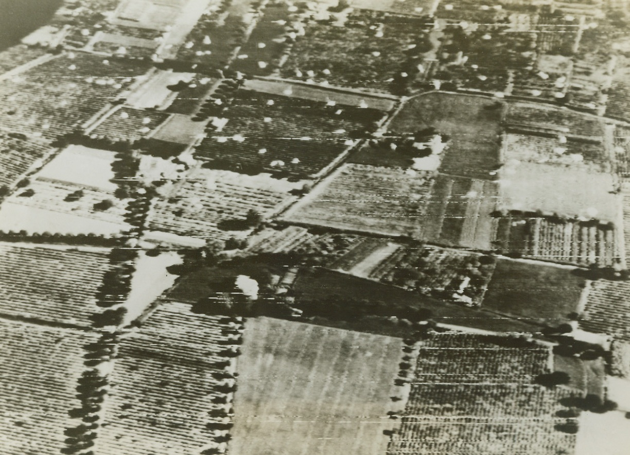 Invading Southern France – First Photo, 8/15/1944. Parachutes, left behind by Paratroopers who stuck out for their objectives in enemy territory after landing, are seen in this aerial view dotting the ground for miles around in southern France. Credit: ACME photo by Charles Seawood for the War Picture Pool via Army Radiotelephoto;