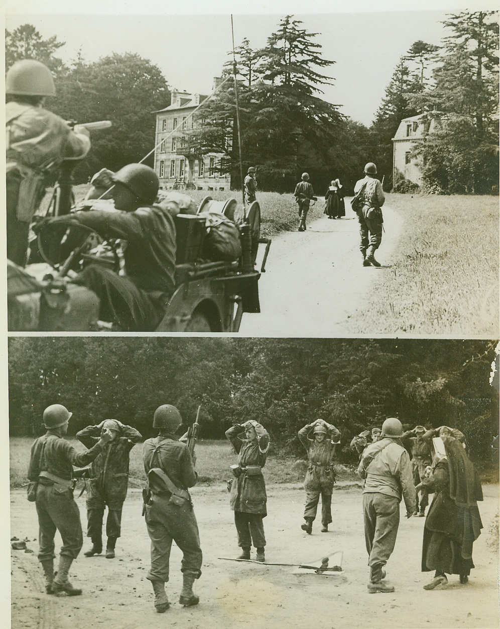 Surrender In Avranches, 8/10/1944. France—During the drive for Avranches an American patrol heads cautiously toward a convent where Nazi soldiers are believed to have fortified themselves. In the top photo two nuns come out to meet the patrol bearing the German offer of surrender. Capt. Albert J. Owen, nearest the nuns, accepted the surrender. In the bottom photo, German soldiers, hands on their heads, come out of their convent hiding place. Looking on is one of the nuns who negotiated the surrender. Credit: ACME;
