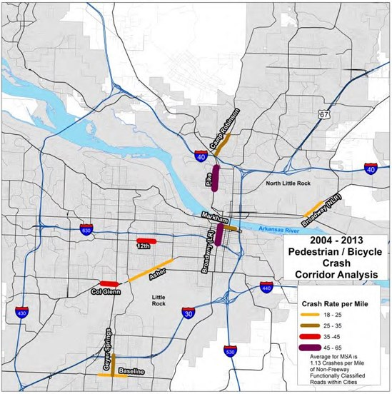 This is a map of the most dangerous corridors for bicyclists and pedestrians in all of Central Arkansas.