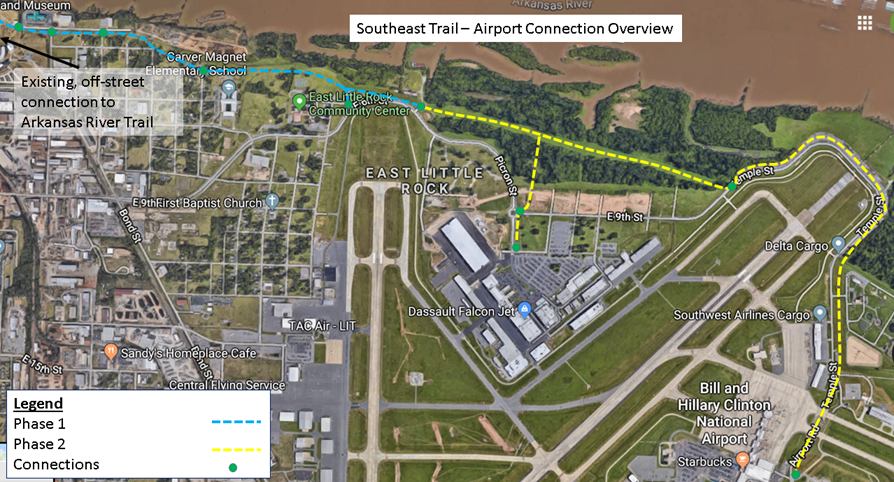 Map of the proposed alignment of the Southeast Trail from Heifer to the Little Rock airport.