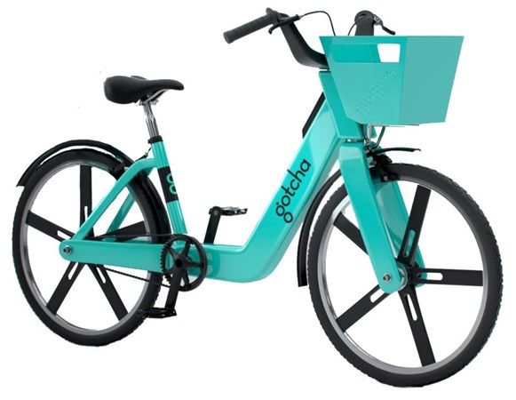 Stock photo of a Gotcha pedal-assist bikeshare bike.