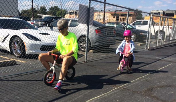 League Cycling Instructor Coreen Frasier teaches a learn to ride class.