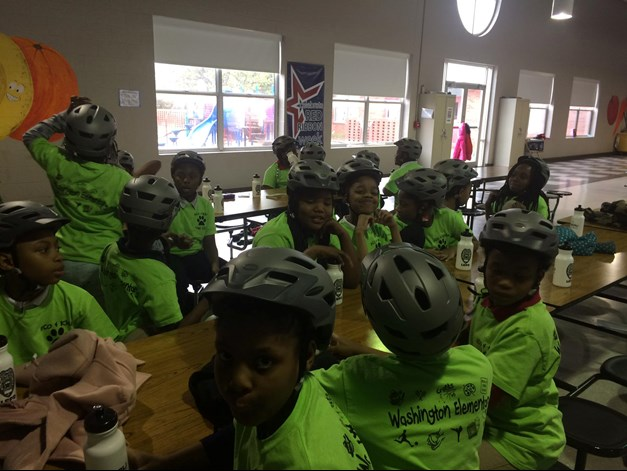 Washington Elementary students learn bicycle safety in an after school program.