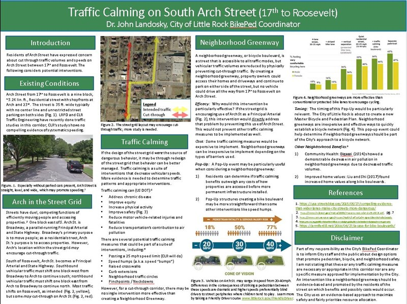 Poster considering bike boulevards as a traffic calming solution on Arch Street.
